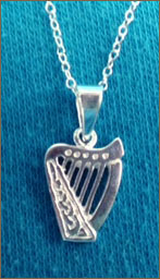Silver Brian Boru Harp Necklace