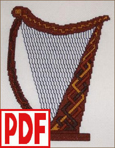 Celtic Harp Cross-Stitch PDF PATTERN