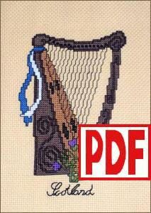 Scottish Harp Cross-Stitch PDF PATTERN