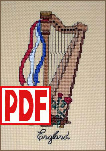 English Harp Cross-Stitch PDF PATTERN