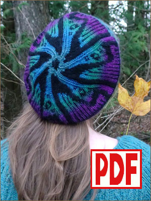 PDF PATTERN for Knitting a Tam Hat with a Harp Motif