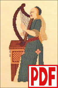 Clarsair Cross-Stitch PDF PATTERN