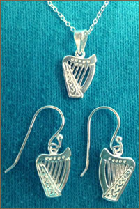 Silver Brian Boru Necklace and Crook Earring Set