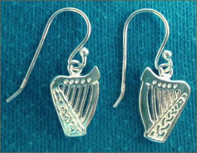 Silver Brian Boru Shepherd's Crook Earrings
