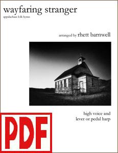 Wayfaring Stranger arranged for harp and high voice by Rhett Barnwell PDF Download