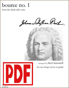 Bouree No. 1 by Bach arranged for harp duet or ensemble by Rhett Barnwell PDF Download