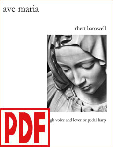 Ave Maria composed by Rhett Barnwell for harp and high voice PDF Download