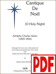 Cantique de Noel (O Holy Night) arranged  for solo harp or voice and harp by Darhon Rees-Rohrbacher PDF Download