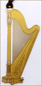 Gold-Tone Pedal Harp Bookmark