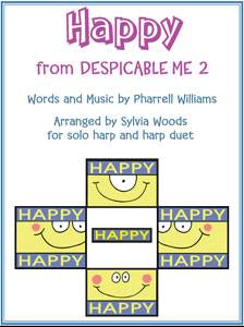 Happy sheet music by Pharrell Williams arranged for harp solo and duet by Sylvia Woods