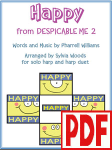 Happy by Pharrell Williams arranged for harp solo and duet by Sylvia Woods PDF Download
