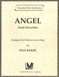 Angel by Sarah McLachlan sheet music arranged for lever or pedal harp by Paul Baker