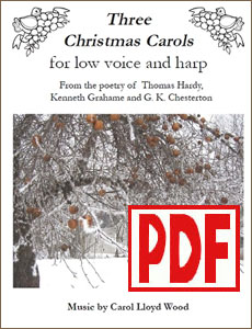 Three Christmas Carols for low voice and harp by Carol Wood PDF Download