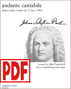 Andante Cantabile by J. S. Bach arranged by Rhett Barnwell for harp and organ PDF Download