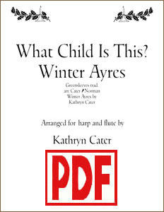 What Child is This by Kathryn Cater for harp and flute PDF Download