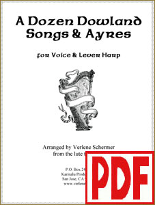 A Dozen Dowland Songs & Ayres for voice and harp by Verlene Schermer  PDF and mp3 Downloads